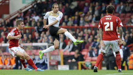 David Wright volleys wide of the target at Bristol City earlier in the season