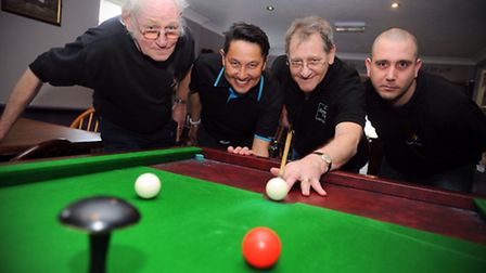 Bar billiards group in Sudbury organising a tournament for Suffolk Family Carers. Left to right, Del
