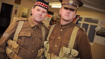 London Marathon runners Graham Elsy and Daniel Brown (right) are running together in full WW1 unifor