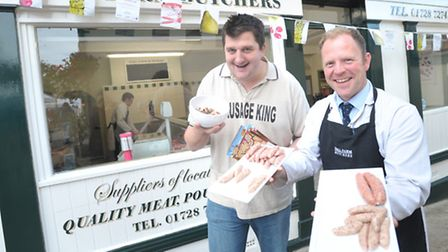 The Sausage King Stephen Plume and Adrian Smith from Hall Farm Butchers as last year's Framlingham S