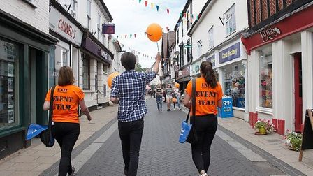 The DissFest young associates out and about in Diss for the launch of this year's festival. picture: