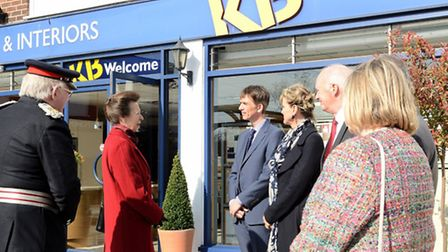 HRH the Princess Royal chats to Kent Blaxill managing director Simon Blaxill and other directors dur