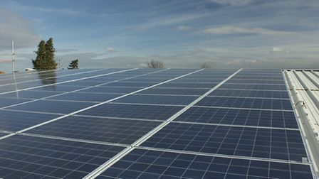 The new solar panel installation on the roof of the Glasswells store in Bury St Edmunds.