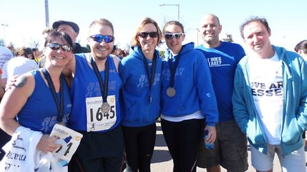 Great Bentley runners who completed the Colchester Half Marathon. Pictured left to right are Lesley