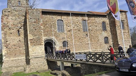 Princess Anne arrives at Colchester Castle during a visit to the town on Thursday, March 20.