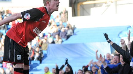 Ipswich Town's Jonny Williams celebrates with the Town fans after the second goal against Brighton