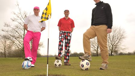 Gareth May, Dan Ferretti,Tony Dobson, sporting footgolf clothing from Royal and Awesome, prepare for