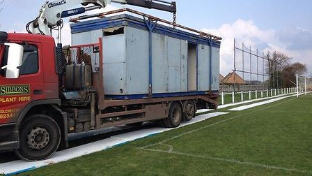 The toilet block makes its way across North Road via the pitch