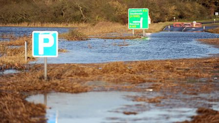 The tidal surge last December blocked the A12 in both directions at Blythburgh.