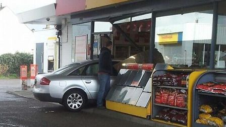 The scene at the Shell petrol station in Clacton's Old Road yesterday evening.
