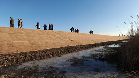 The new flood defence at Minsmere nature reserve.
