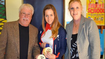 Caroline Powell the guide to Jade Etherington Paralympic medalists visit to Stratford St Mary Primar