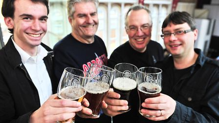 The first beer festival at the John Peel Centre for Creative Arts: Max Wildwood, David Ward, Mark Ma