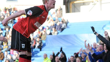 Ipswich Town's Jonny Williams celebrates with the Town fans after setting up the second goal against