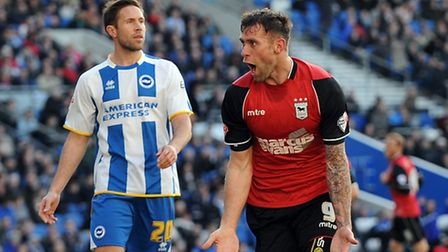 Ipswich Town's Daryl Murphy celebrates scoring the second goal against Brighton at The Amex