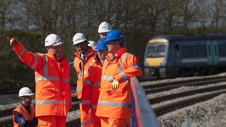 Transport minister Stephen Hammond is shown the new Ipswich Chord.
