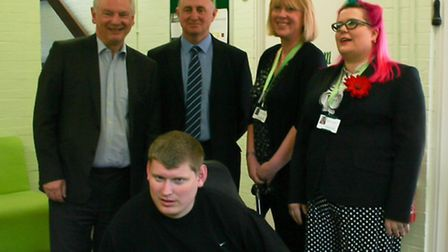 From left, Minster for the Cabinet Office Francis Maude, with Tony Carr, Tracey Markwell, Milly Gask