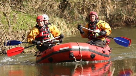 Search teams on practice operation on the River Waveney - Frances Crickmore