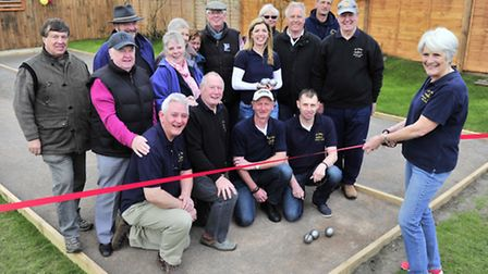 The Parrot and Punchbowl Aldringham opens two new petanque pistes. Landlady Shelia Fleming with Bou