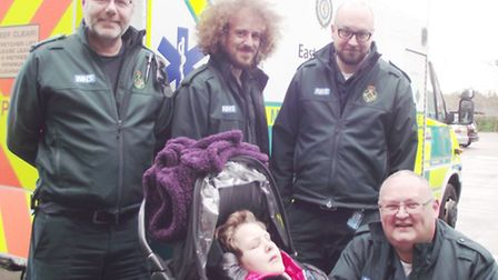 Lucas Kirby with some of the medics who helped look after him