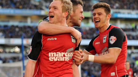 Ipswich Town's Jonny Williams celebrates setting up Daryl Murphy to score the second goal against Br