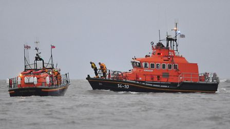 Lifeboat and helicopter search off Lowestoft Coast.