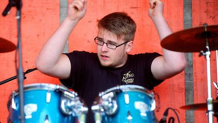 A drummer playing during Stowfest at�Stowmarket RUFC.