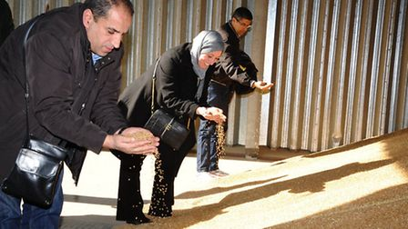 Moroccan and Algerian delegates visit a grain store on a visit to the UK organised by HGCA