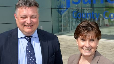 County council leader Mark Bee and his deputy Lisa Chambers at Endeavour House in Ipswich.