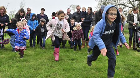The children of Yoxford gather at Yoxwood Field for an Easter Egg Hunt