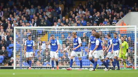 Ipswich Town v AFC Bournemouth. Sky Bet Championship. Town players walk away in despair as Bournemou
