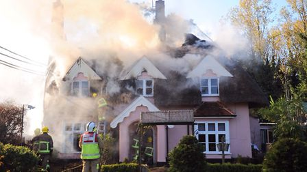 The blaze that engulfed thatched cottages in Barham, which has led to the nearby Norwich Road being