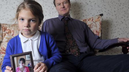 Charles Tait and his daughter Angela, five, are struggling to cope living without wife and mother Eu