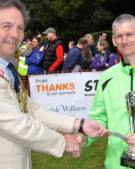 Sudbury Fun Run winner 2014 Colin Ridley of the over 50s cup sponsored by Wardale Williams