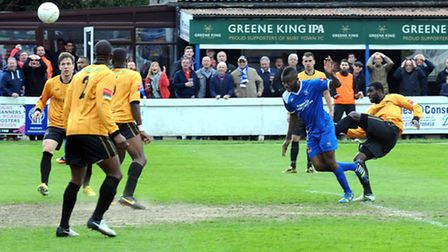 Nwachuku heads Bury Town's late winner on his last appearance for the club