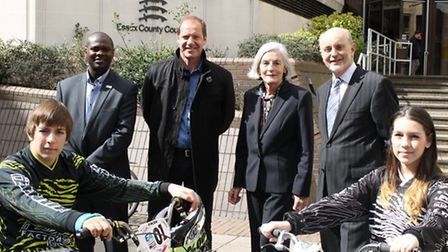 Left to right: Back row Jason Fergus, Christian Prudhomme, Cllr Ann Naylor, Cllr Ray Gooding Front r