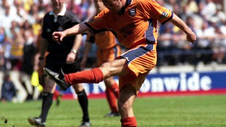 Ipswich Town's Marcus Stewart scores against Bolton in the play-off first leg in May 2000
