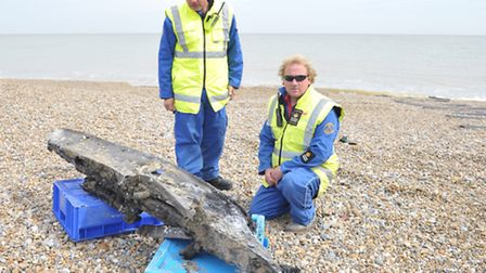 Coastguards and the MOD were contacted today as Aldeburgh fisherman Alby Clements dredged up part of