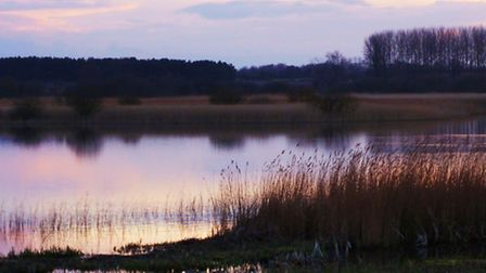 Sunset at Minsmere looking from the Island Mere Hide.