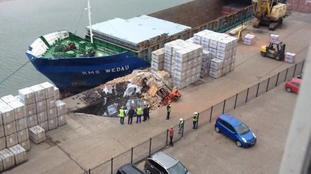 Sinkhole at Mistley Quay being investigated. Picture: Rob Hankey.