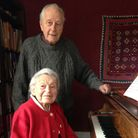 Jean and Peter Marshall in the music room in Western House, Cavendish.