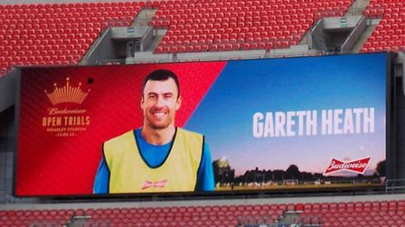 Gareth Heath's name and picture in lights on the Wembley big screen