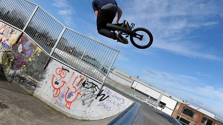 Ben Gray is pictured at Bury Skatepark in 2011.