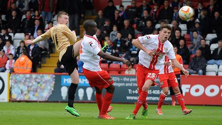 Freddie Sears scores for Colchester just before half-time at Stevenage