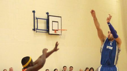 Aaron Moseley hits one of his four three-pointers at Huddersfield