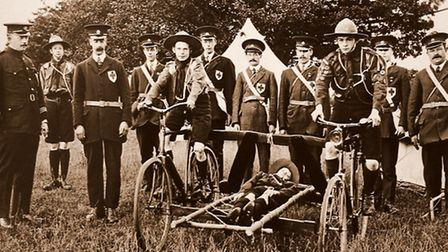 A stretcher mounted between bicycles � probably used by Woodbridge Red Cross during training exercis