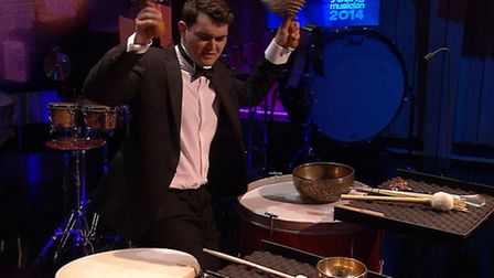 Matthew performing in the BBC's Young Musician show at the Royal Welsh College of Music and Drama in
