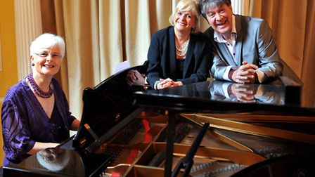 Annette Jude, on piano, and Helen McDermott and Adrian Wright who are in Cowards in the Wings.