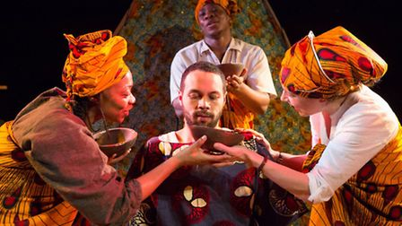 Antoinette Marie Tagoe, Itoya Osagiede, Ricci McLeod and Sioned Jones in Eastern Angles' Palm Wine a