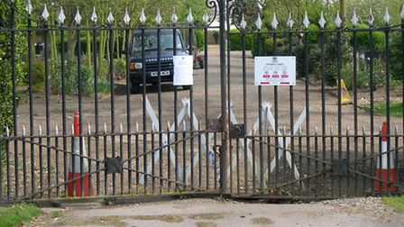 The closed main entrance to Felixstowe Cemetery - closed because of the danger to the public from un